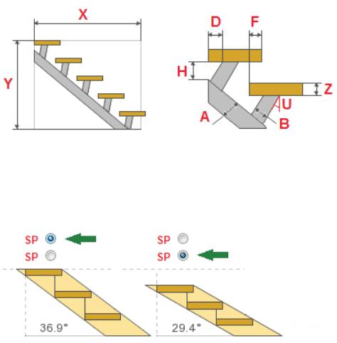 Расчет размеров прямой металлической лестницы