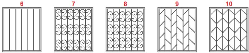 Варианты рисунка оконных решеток