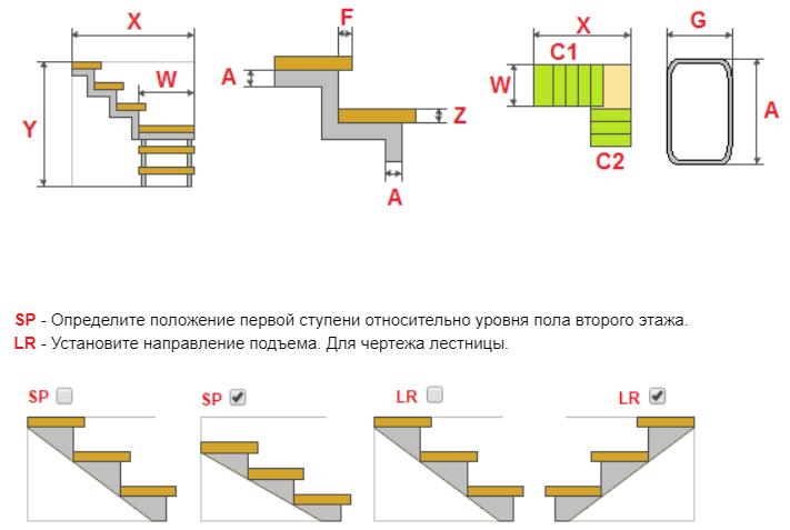 Расчет металлической лестницы с поворотом на 90 градусов и тетивой зигзаг